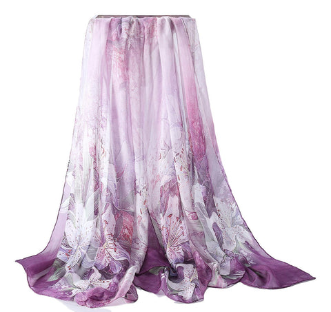 Yangtze Store Extra Wide High Quality Silk Chiffon Scarf Purple Theme Lily Print SCH501