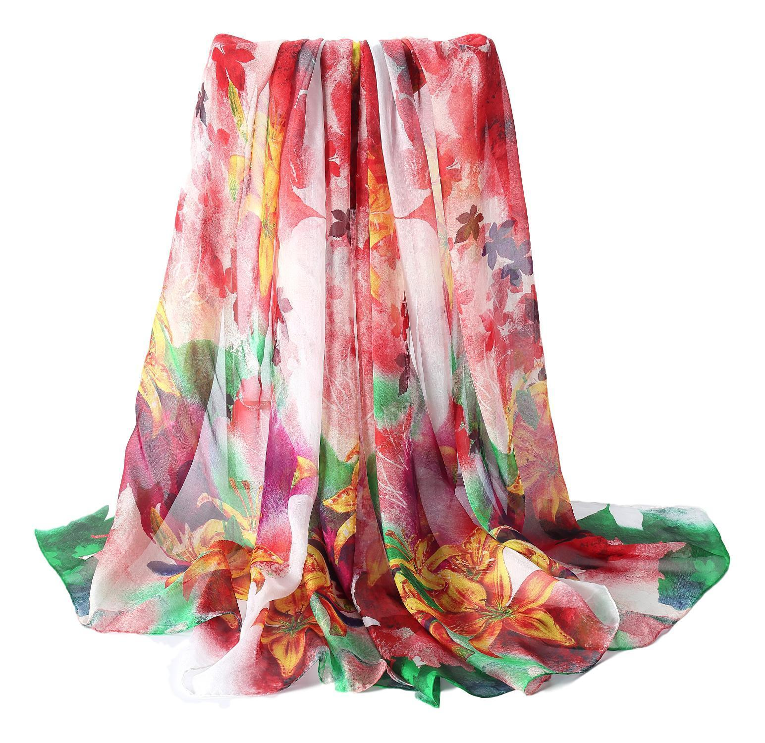8225b8f67189e Extra Wide High Quality Silk Chiffon Scarf Red and Green Floral Print SCH511