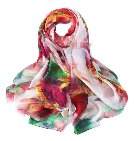 Yangtze Store Extra Wide High Quality Silk Chiffon Scarf Red and Green Floral Print SCH511