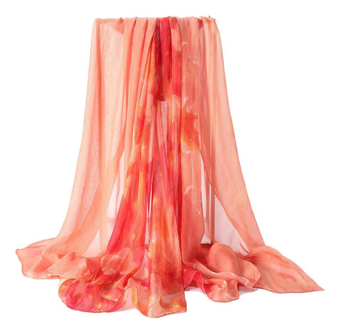 Yangtze Store Extra Wide High Quality Silk Chiffon Scarf Red Theme Maple Leaf Print SCH507