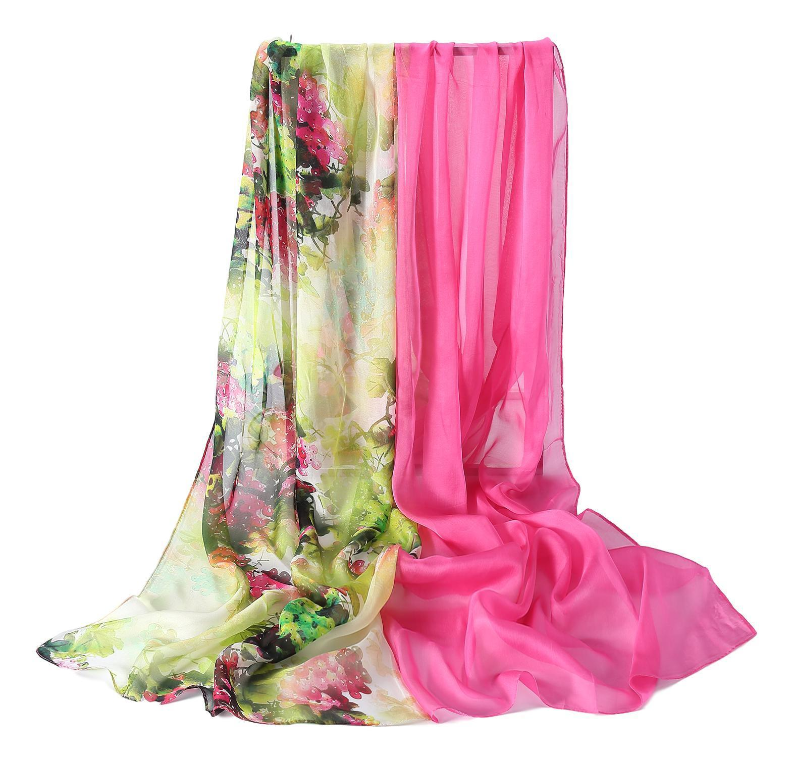 82fe1048bb4e5 Extra Wide High Quality Silk Chiffon Scarf White and Pink Floral Print  SCH516