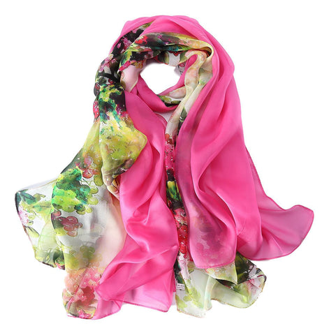 Yangtze Store Extra Wide High Quality Silk Chiffon Scarf White and Pink Floral Print SCH516