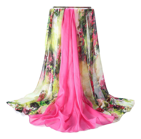 Extra Wide Quality Silk Chiffon Scarf White And Pink