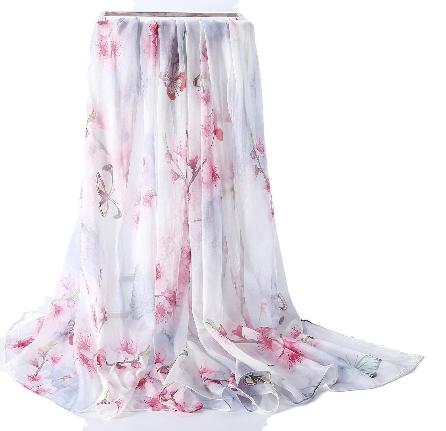 493f114819728 Extra Wide High Quality Silk Chiffon Scarf White Theme Floral Print SCH503