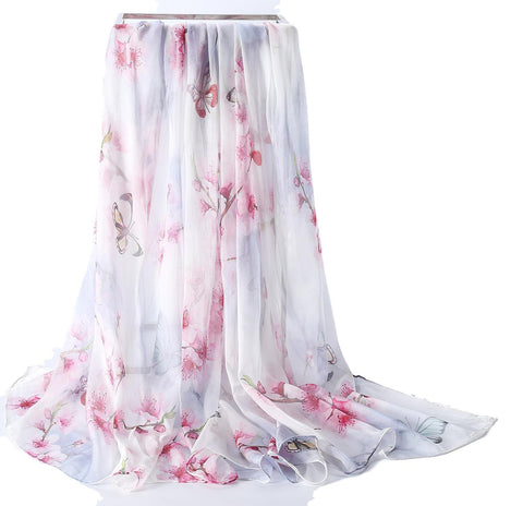 Yangtze Store Extra Wide High Quality Silk Chiffon Scarf White Theme Floral Print SCH503