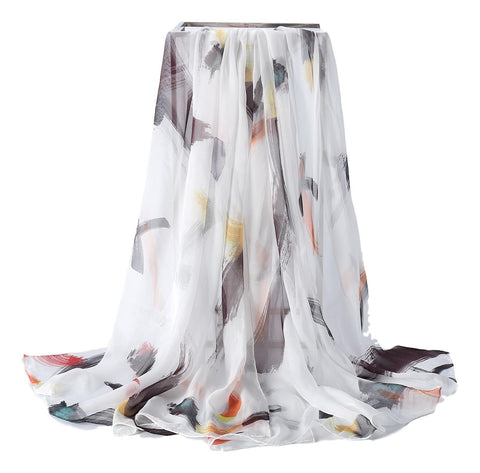 Yangtze Store Extra Wide High Quality Silk Chiffon Scarf White Theme Stripes Print SCH505