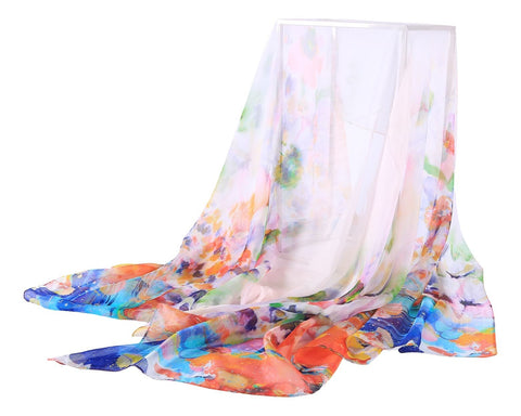 Yangtze Store Extra Wide Silk Chiffon Shawl Wrap Scarf Blue and Orange Floral Print SCH149
