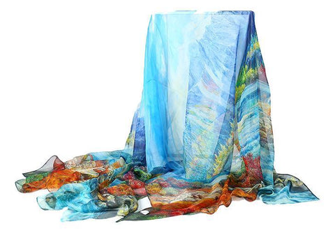 Yangtze Store Extra Wide Silk Chiffon Shawl Wrap Scarf Blue and Yellow Theme Floral Print SCH130