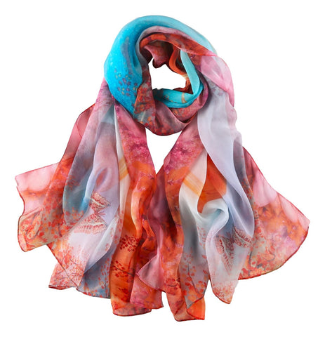 Yangtze Store Extra Wide Silk Chiffon Shawl Wrap Scarf Blue Theme Fall Scenery Painting SCH145