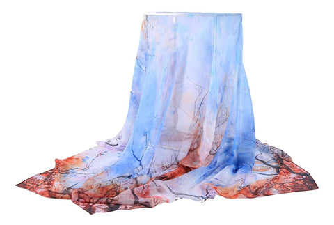 Yangtze Store Extra Wide Silk Chiffon Shawl Wrap Scarf Light Blue Winter Trees Print SCH142