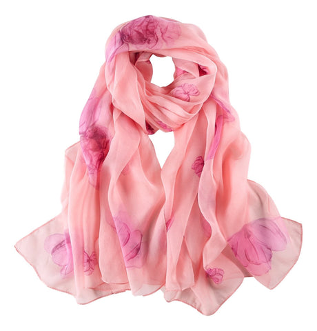 Yangtze Store Extra Wide Silk Chiffon Shawl Wrap Scarf Pink Color Floral Print SCH143