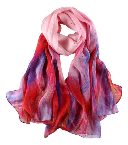 Yangtze Store Extra Wide Silk Chiffon Shawl Wrap Scarf Red and Blue Abstract Print SCH144