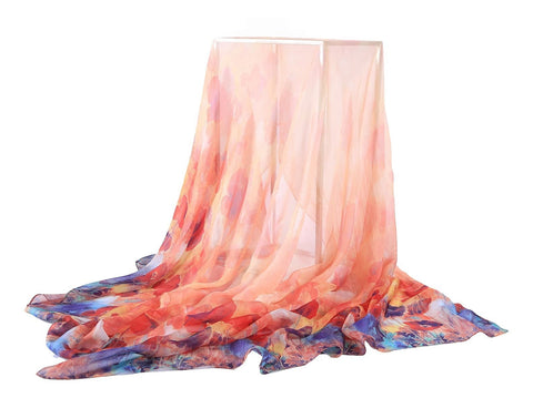 Yangtze Store Extra Wide Silk Chiffon Shawl Wrap Scarf Red and Blue Flower Print SCH148