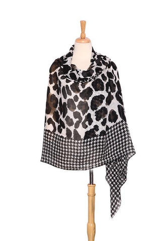 Yangtze Store Extra Wide Wool and Acrylic Pashmina Wrap Shawl Scarf Black and White Theme Leopard and Swallow Gird Print PSH512