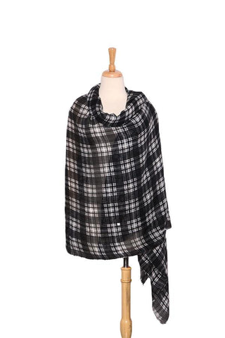 Yangtze Store Extra Wide Wool and Acrylic Pashmina Wrap Shawl Scarf Black and White Theme Plaid Print PSH510
