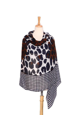 Yangtze Store Extra Wide Wool and Acrylic Pashmina Wrap Shawl Scarf Navy Theme Leopard and Swallow Gird Print PSH513