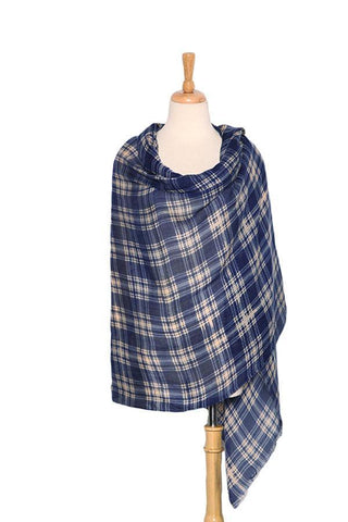 Yangtze Store Extra Wide Wool and Acrylic Pashmina Wrap Shawl Scarf Navy Theme Plaid Print PSH508
