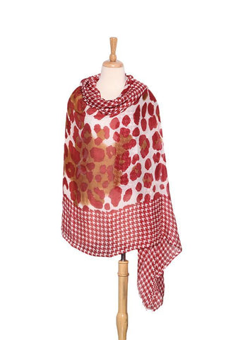 Yangtze Store Extra Wide Wool and Acrylic Pashmina Wrap Shawl Scarf Red Theme Leopard and Swallow Gird Print PSH511