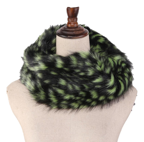 Yangtze Store Faux Fur Neck Warmer Black and Green Color WARM002