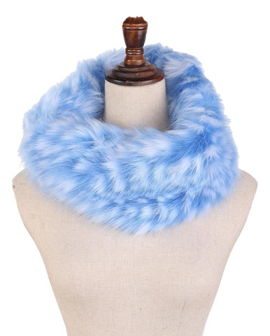 Yangtze Store Faux Fur Neck Warmer Blue and White Color WARM004
