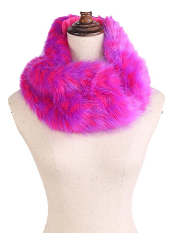 Yangtze Store Faux Fur Neck Warmer Infinity Scarf Purple and Pink Color WARM001