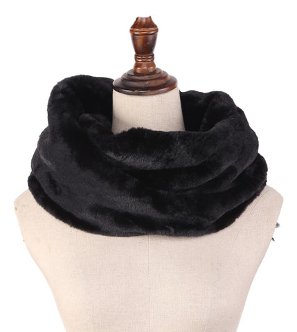 Yangtze Store Faux Fur Neck Warmer Solid Black Color WARM008