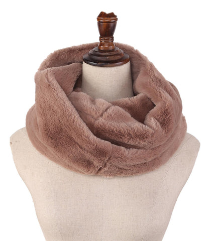 Yangtze Store Faux Fur Neck Warmer Solid Brown Color WARM009