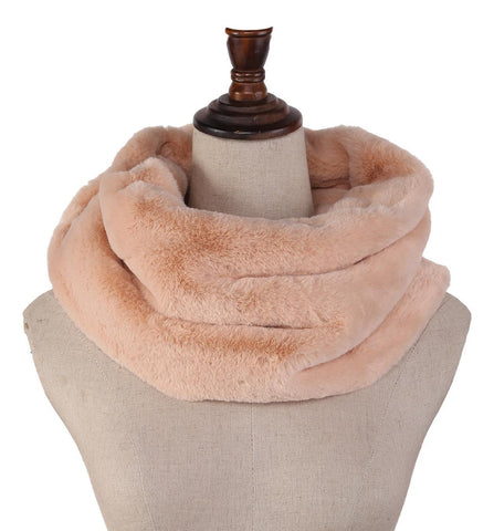 Yangtze Store Faux Fur Neck Warmer Solid Champagne Color WARM007