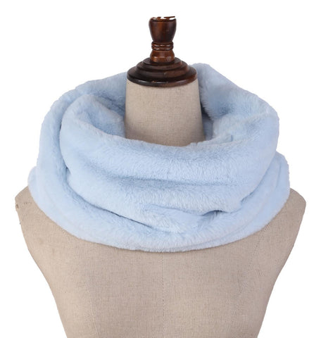 Yangtze Store Faux Fur Neck Warmer Solid Light Blue Color WARM003