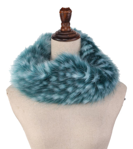 Yangtze Store Faux Fur Neck Warmer Turquoise Color WARM005