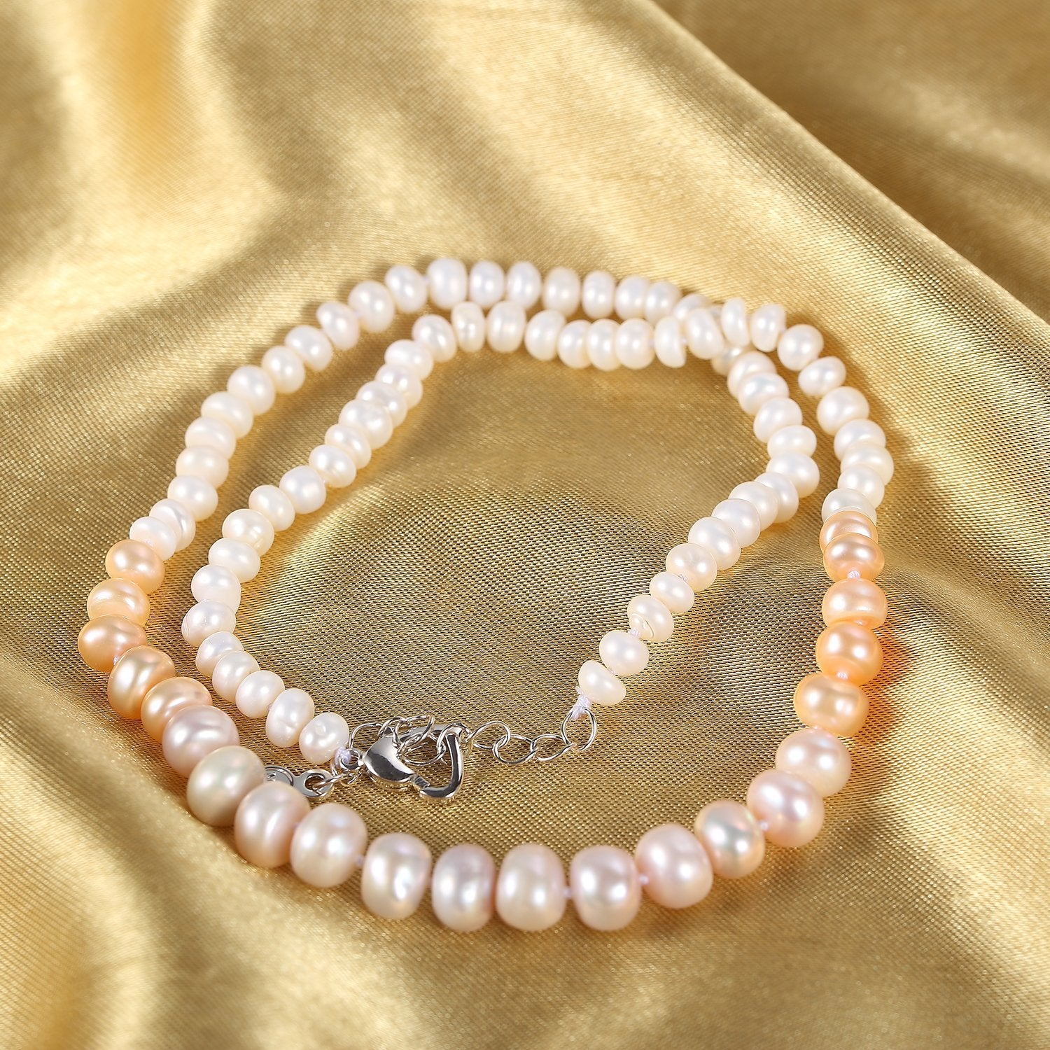 jewelry cup necklace yellow tin pearl bling bar freshwater gold