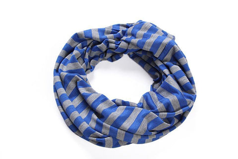Yangtze Store Infinity Loop Cotton and Viscose Scarf Blue Color Stripes Print LOOP002