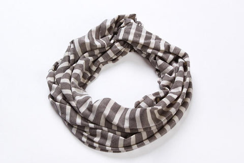 Yangtze Store Infinity Loop Cotton and Viscose Scarf Brown Color Stripes Print LOOP003