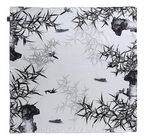 Yangtze Store Large Square Charmeuse Silk Scarf Black and White Bamboo Print DFJ104