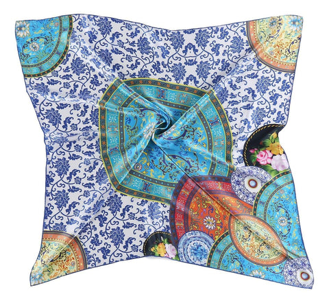 Yangtze Store Large Square Charmeuse Silk Scarf Digitally Printed Blue Theme Plates Pattern DFJ019
