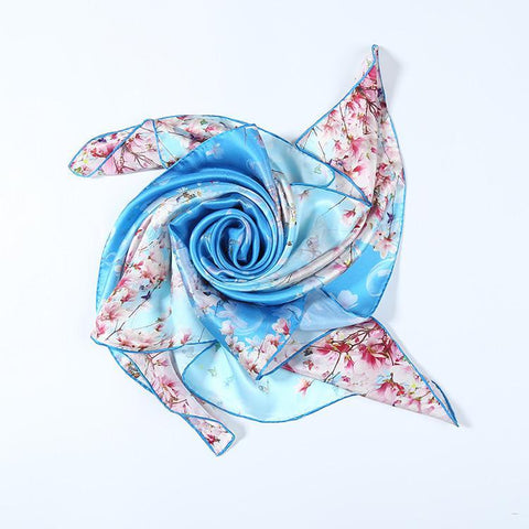 Yangtze Store Large Square Charmeuse Silk Scarf Digitally Printed Light Blue Theme Sakura Flower Print DFJ032