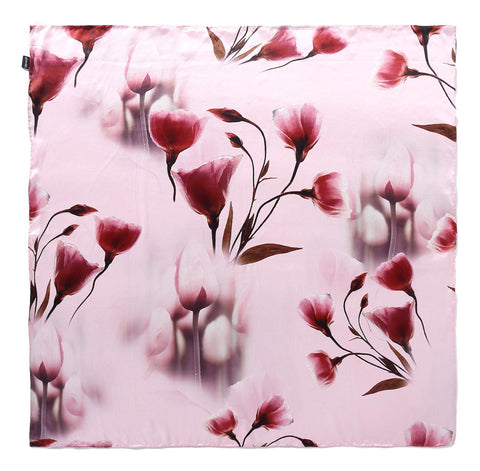 Yangtze Store Large Square Charmeuse Silk Scarf Pink Color Floral Print DFJ101