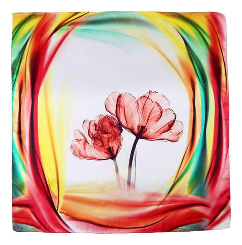Yangtze Store Large Square Charmeuse Silk Scarf Red and Green Floral Print DFJ046
