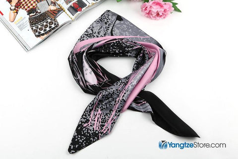 "Yangtze Store Large Square Satin Scarf 36x36"" (90x90cm) Black and Pink Theme SAT002"