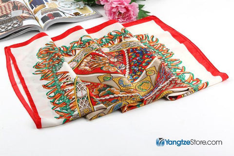 "Yangtze Store Large Square Satin Scarf 36x36"" (90x90cm) Orange and White Theme SAT003"