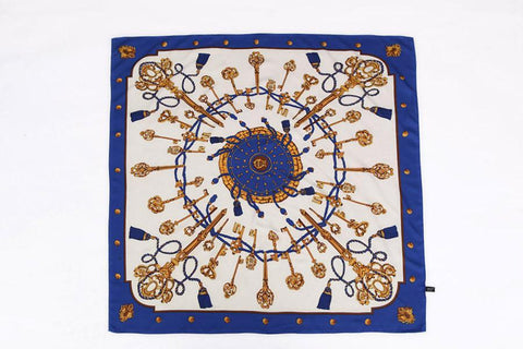 Yangtze Store Large Square Satin Scarf Blue Theme SAT018