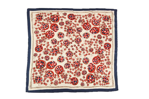 Yangtze Store Large Square Satin Scarf Navy and Red Theme Circles Print SAT016