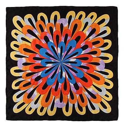 "Yangtze Store Large Square Silk Jacquard Scarf 36""x36"" (90x90cm) Black and Yellow SBD013"