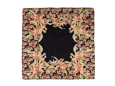 "Yangtze Store Large Square Silk Jacquard Scarf 36""x36"" (90x90cm) Black Background Floral Pattern SBD006"