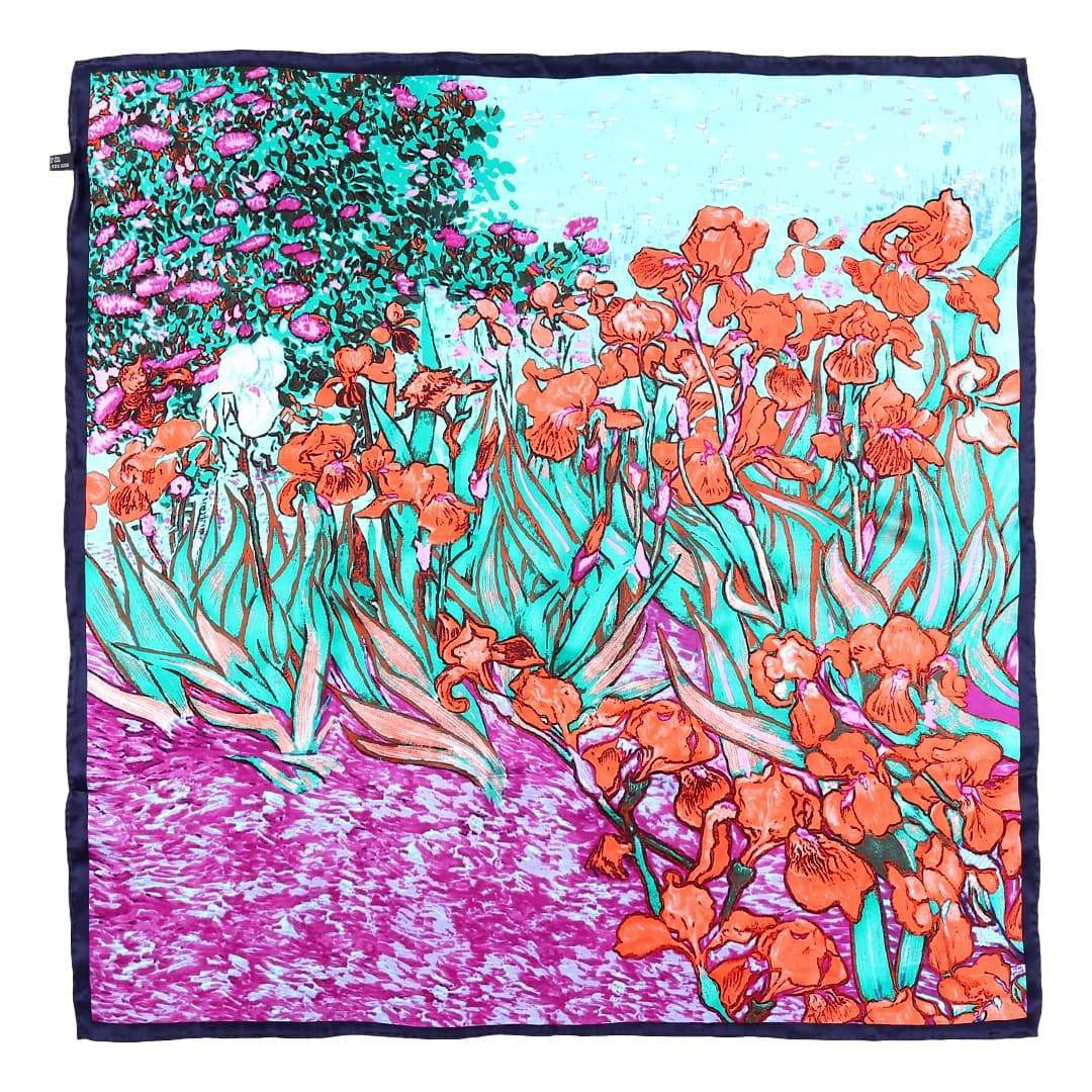 large square silk scarf green and red van gogh painting irises