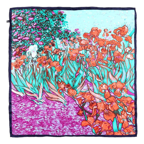 "Yangtze Store Large Square Silk Scarf 36""x36"" Green and Red Van Gogh Painting Irises SZD064"