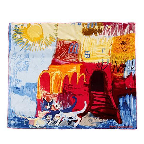 "Yangtze Store Large Square Silk Scarf 36x36"" (90x90cm) Blue and Yellow Theme Classic Painting Print SZD039"