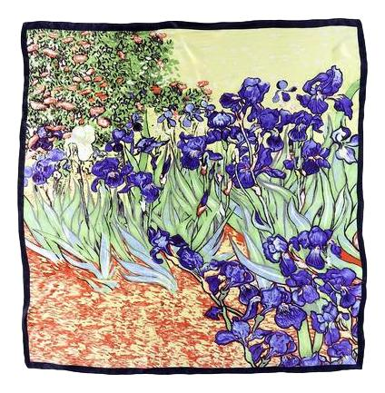 Large Square Silk Scarf Blue and Green Van Gogh Painting Irises SZD065