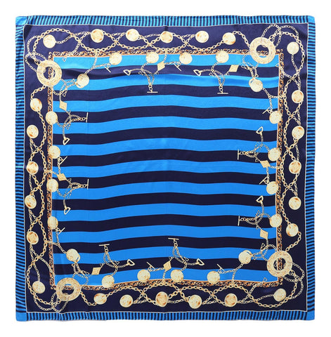 Yangtze Store Large Square Silk Scarf Blue Color Stripes and Links Print SZD082