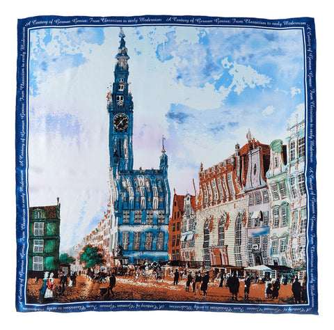 Yangtze Store Large Square Silk Scarf Blue Theme City View Painting SZD201